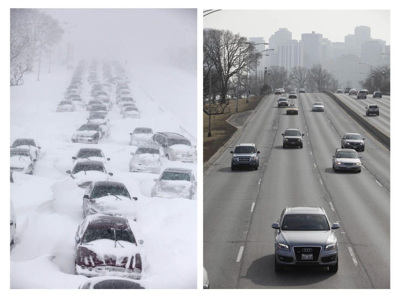 FILE - This composite of file images shows traffic stranded on Chicago's Lake Shore Drive during a winter blizzard on Feb. 2, 2011 and one year later on Feb. 1, 2012, as traffic moves smoothly on the same stretch of road. When Chicago wakes up on Tuesday, March 5, 2013, the area will be in the midst of a storm that could wind up depositing as much as 10 inches of snow before the end of the day,  more snow than the region has seen since the blizzard of 2011. (AP Photo/Kiichiro Sato, File)