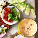 <p>The alpine cheeses in this healthy cheese fondue recipe by Laura Werlin are known for melting smoothly, which is key in a fondue. Adding vegetables brings texture and bonus nutrition, while complementing the buttery nuttiness of each cheese. To serve 12, plan to offer 6 cups of cut-up vegetables for dipping, such as steamed broccoli and cauliflower florets or strips of raw fennel and red bell pepper.</p>