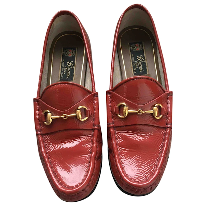 """<br><br><strong>Gucci</strong> Patent Leather Flats, $, available at <a href=""""https://go.skimresources.com/?id=30283X879131&url=https%3A%2F%2Fus.vestiairecollective.com%2Fwomen-shoes%2Fflats%2Fgucci%2Fred-patent-leather-gucci-flats-10929239.shtml"""" rel=""""nofollow noopener"""" target=""""_blank"""" data-ylk=""""slk:Vestiaire Collective"""" class=""""link rapid-noclick-resp"""">Vestiaire Collective</a>"""