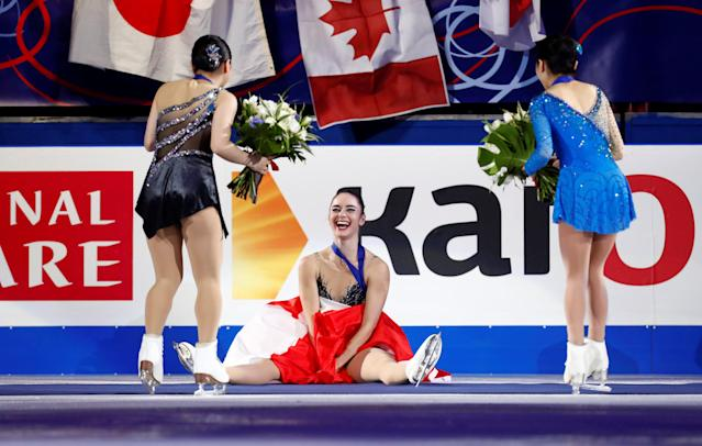 Figure Skating - World Figure Skating Championships - The Mediolanum Forum, Milan, Italy - March 23, 2018 Canada's Kaetlyn Osmond as she celebrates winning the gold medal after the Ladies Free Skating REUTERS/Alessandro Garofalo