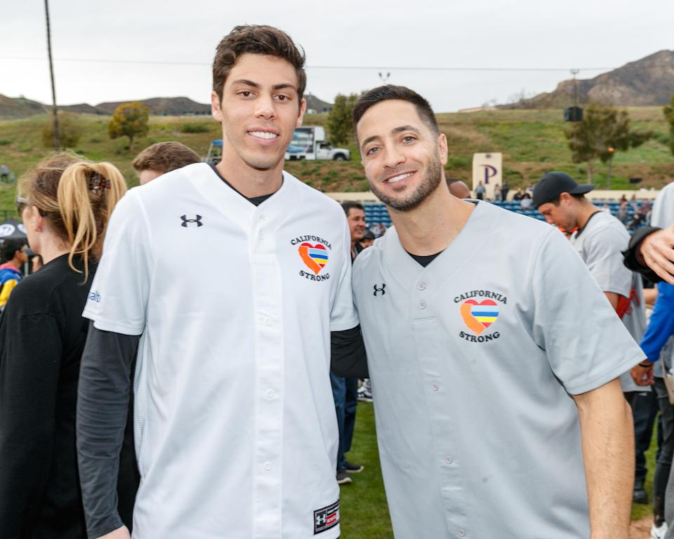 """MALIBU, CALIFORNIA - JANUARY 13:   Christian Yelich and Ryan Braun attend a charity softball game to benefit """"California Strong"""" at Pepperdine University on January 13, 2019 in Malibu, California. (Photo by Rich Polk/Getty Images for California Strong)"""