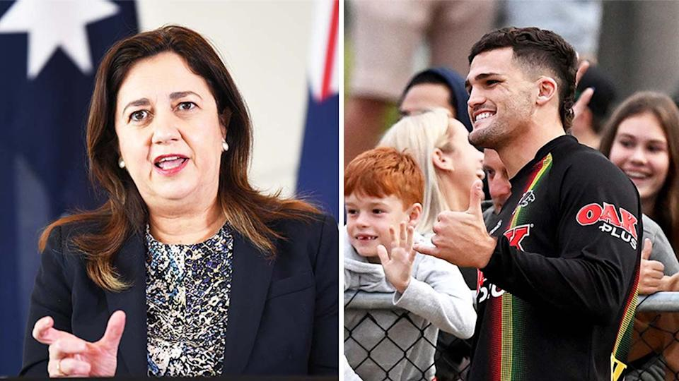 Queensland premier Annastacia Palaszczuk (pictured left) during a media conference and (pictured right) Nathan Cleary with a fan.
