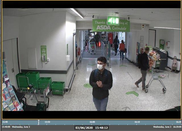 Danyal Hussein in Asda in Colindale where he purchased a knife block
