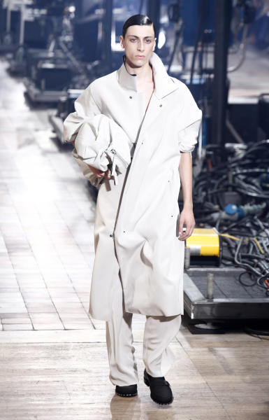 A model wears a creations for Lanvin's Spring-Summer 2014 men's collection presented Sunday, June 30, 2013 in Paris. (AP Photo/Thibault Camus)
