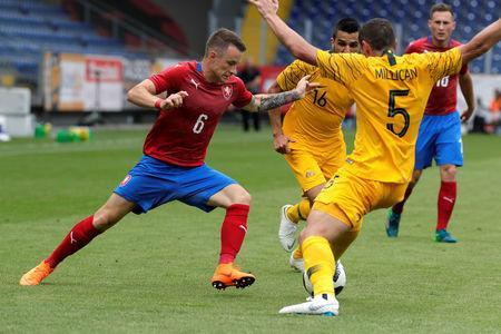 Soccer Football - International Friendly - Czech Republic v Australia - NV Arena, Sankt Polten, Austria - June 1, 2018 Czech Republic's Jan Sykora in action with Australia's Mark Milligan and Aziz Eraltay REUTERS/Heinz-Peter Bader