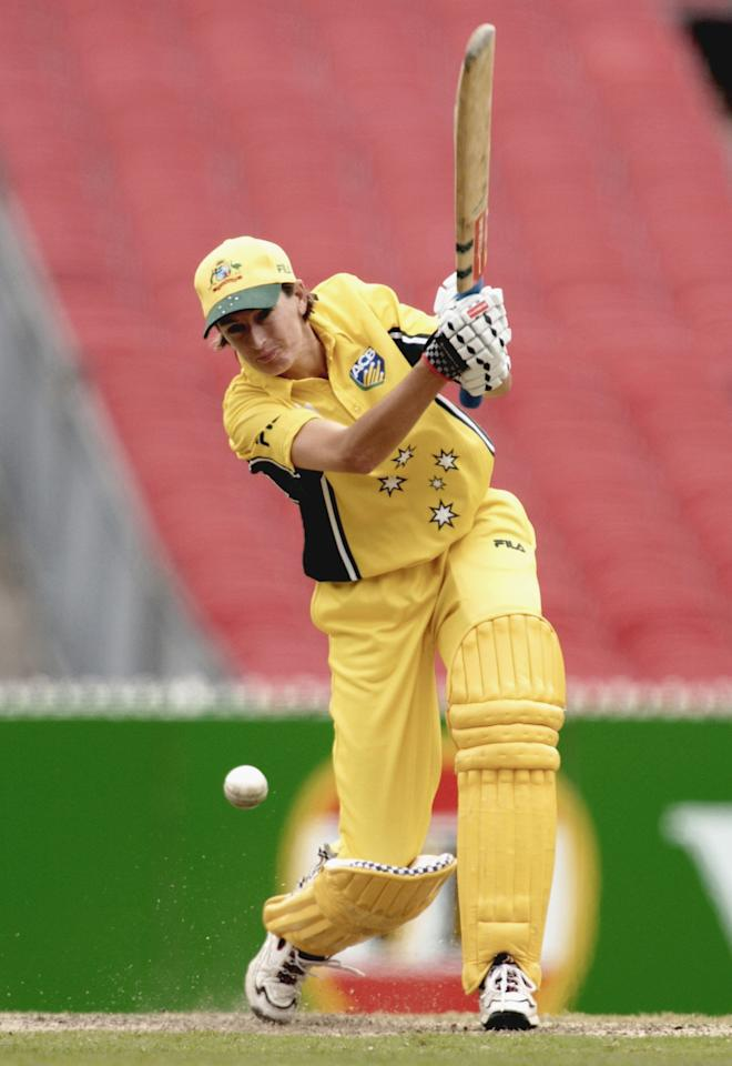23 Feb 2002:  Lisa Keightley #11 of Australia hits one away for a single during the Battle for the Rose Bowl one day Women's international between the Australian Southern Stars and the New Zealand White Ferns, played at the Mcg, Melbourne, Australia.  DIGITAL IMAGE. Mandatory Credit: Robert Cianflone/Getty Images