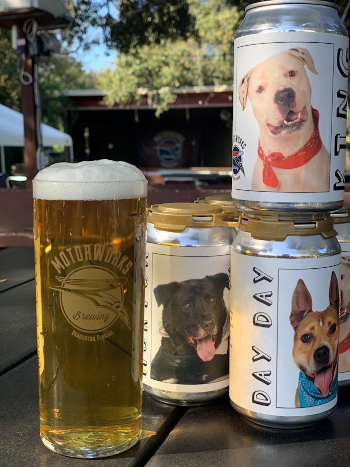 Motorworks Brewing in Bradenton, Fla., sells beer cans that promote shelter dogs, and proceeds go to Shelter Manatee.