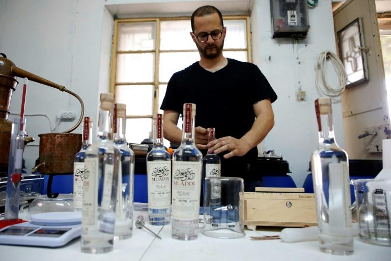 Although still a small-scale operation, distiller Nader Muaddi's Arak has scooped international awards (AFP Photo/HAZEM BADER)