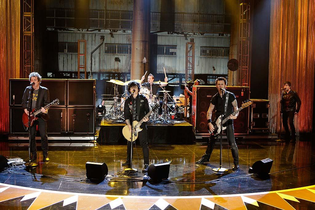 """Green Day frontman Billie Joe Armstrong ran into the studio audience in the middle of their performance of """"Know Your Enemy."""" Paul Drinkwater/NBC - June 2, 2009"""
