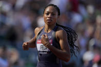 Allyson Felix finishes second during a semi-final in the women's 200-meter run at the U.S. Olympic Track and Field Trials Friday, June 25, 2021, in Eugene, Ore. (AP Photo/Ashley Landis)