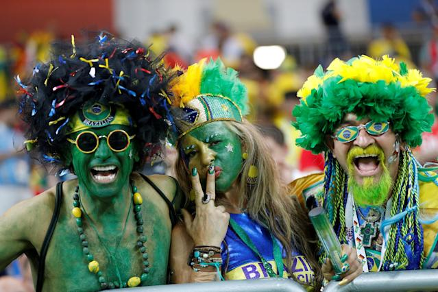 Soccer Football - World Cup - Group E - Brazil vs Switzerland - Rostov Arena, Rostov-on-Don, Russia - June 17, 2018 Brazil fans in the stadium during the match REUTERS/Darren Staples TPX IMAGES OF THE DAY