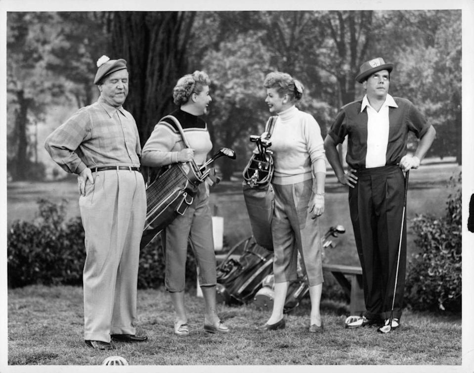 <p>Lucille Ball and Desi Arnaz, along with co-stars William Frawley and Vivian Vance, take up golf in a 1954 episode of I Love Lucy.<br></p>