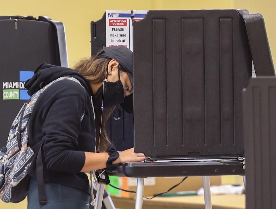 Miamis Upper Eastside residents cast their ballots as they voted at Legion Park on Election Day on Tuesday, November 3, 2020 in Miami, Florida. (Carl Juste/Miami Herald/Tribune News Service via Getty Images)