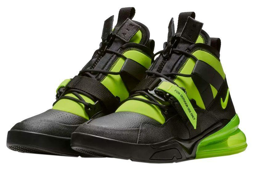"""<p><a href=""""https://www.nike.com/launch/t/air-force-270-utility-black-volt/"""" rel=""""nofollow noopener"""" target=""""_blank"""" data-ylk=""""slk:SHOP"""" class=""""link rapid-noclick-resp"""">SHOP</a> <em>$175, <a href=""""https://www.nike.com/launch/t/air-force-270-utility-black-volt/"""" rel=""""nofollow noopener"""" target=""""_blank"""" data-ylk=""""slk:nike.com"""" class=""""link rapid-noclick-resp"""">nike.com</a></em></p><p> The Air Force 270 Utility may seem like it has identity issues, but there's almost a tough elegance to them. The Air Max 270 air bubble is intact at the heel, while the upper features a combination of leathers and textiles. The lacing system is constructed of loops and eyelets, while the tongue is hidden under a unique zipper and strap. This Volt colorway makes the look even bolder, but future colorways may tone down the aesthetics.</p><p><strong>Release: </strong>11/10</p>"""