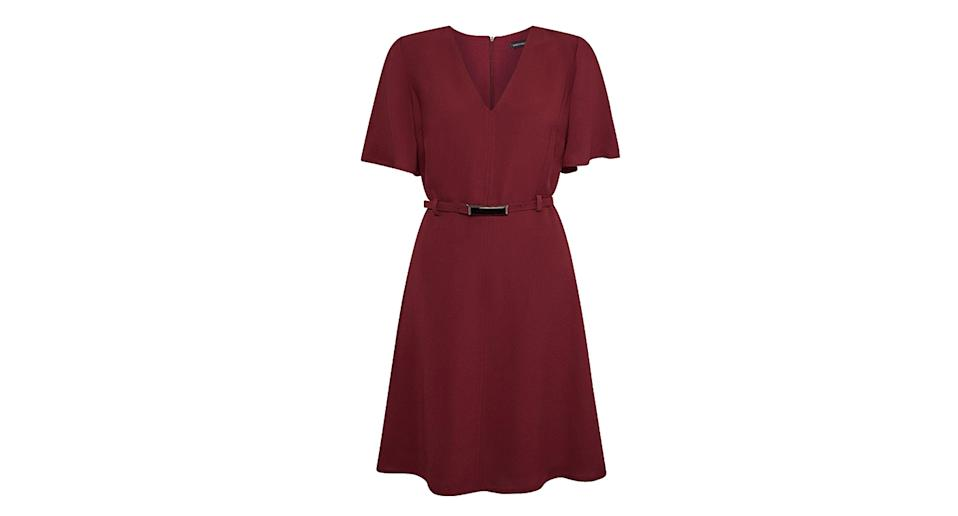 V Neck Flute Sleeve A Line Dress
