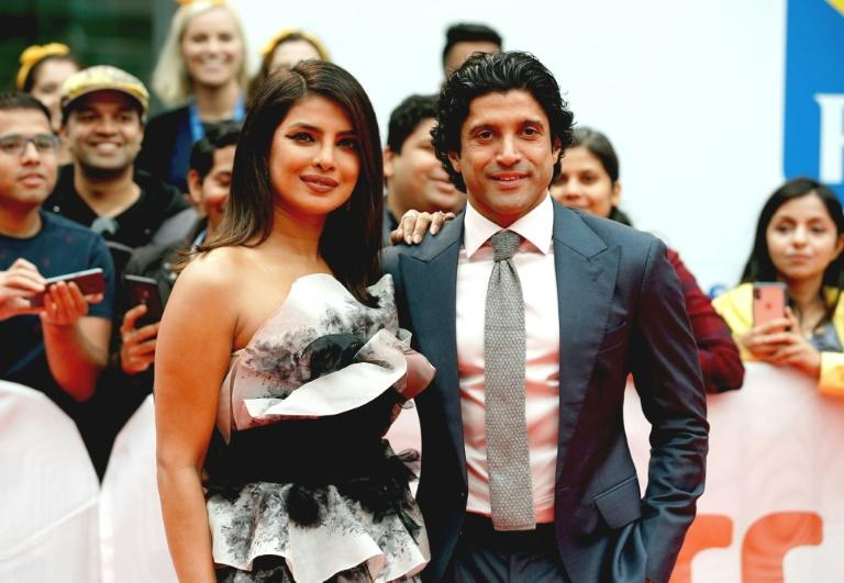 "Priyanka Chopra and Farhan Akhtar attend ""The Sky Is Pink"" premiere during the 2019 Toronto International Film Festival at Roy Thomson Hall on September 13, 2019 in Toronto, Canada"