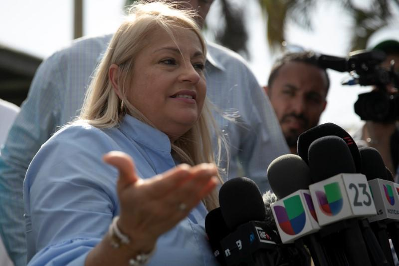 Governor of Puerto Rico Wanda Vazquez talks to the media during an inspection of the Costa Sur power plant after an earthquake in Guayanilla