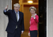 """FILE - In this Wednesday, Jan. 8, 2020 file photo Britain's Prime Minister Boris Johnson greets European Commission President Ursula von der Leyen outside 10 Downing Street in London. It's more than four years since Britain voted to leave the European Union, and almost a year since Prime Minister Boris Johnson won an election by vowing to """"get Brexit done."""" Spoiler alert: It is not done. As negotiators from the two sides hunker down for their final weeks of talks on an elusive trade agreement, Britain and the EU still don't know whether they will begin 2021 with an organized partnership or a messy rivalry.(AP Photo/Kirsty Wigglesworth, File)"""
