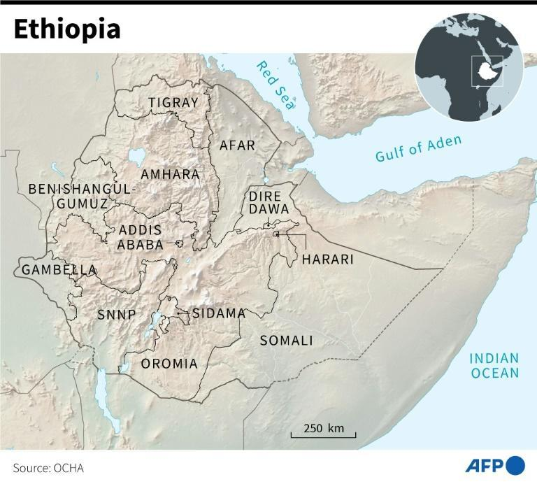 Map of Ethiopia and its current regions (AFP/Simon MALFATTO)