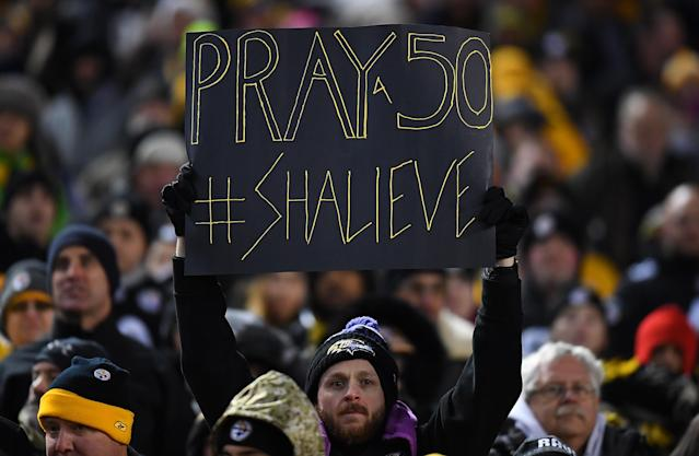 <p>A Baltimore Ravens fan holds up a sign honoring Ryan Shazier #50 of the Pittsburgh Steelers who was injured in a game last week during the game at Heinz Field on December 10, 2017 in Pittsburgh, Pennsylvania. (Photo by Joe Sargent/Getty Images) </p>