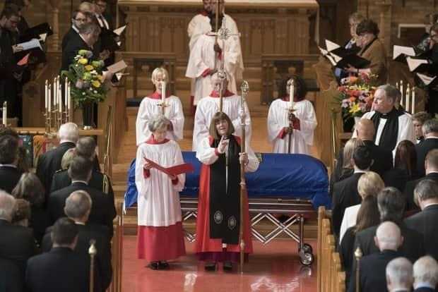 Bishop of the Anglican Diocese of Edmonton, Jane Alexander, presides over the funeral ceremony of former premier Don Getty. (Supplied/Government of Alberta  - image credit)
