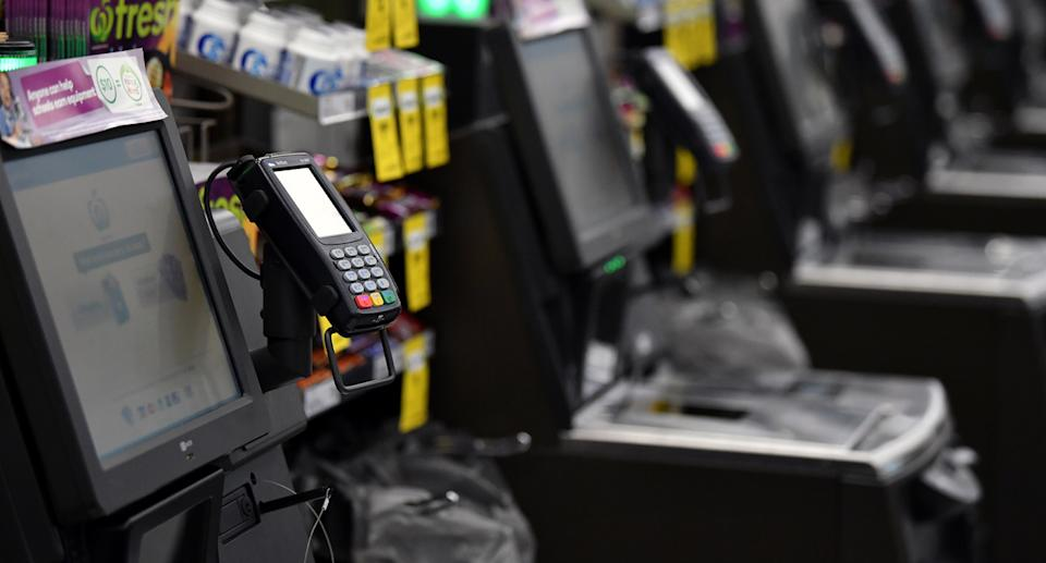 Photo shows Woolworths checkouts as Metro stores trial completely cashless payments.