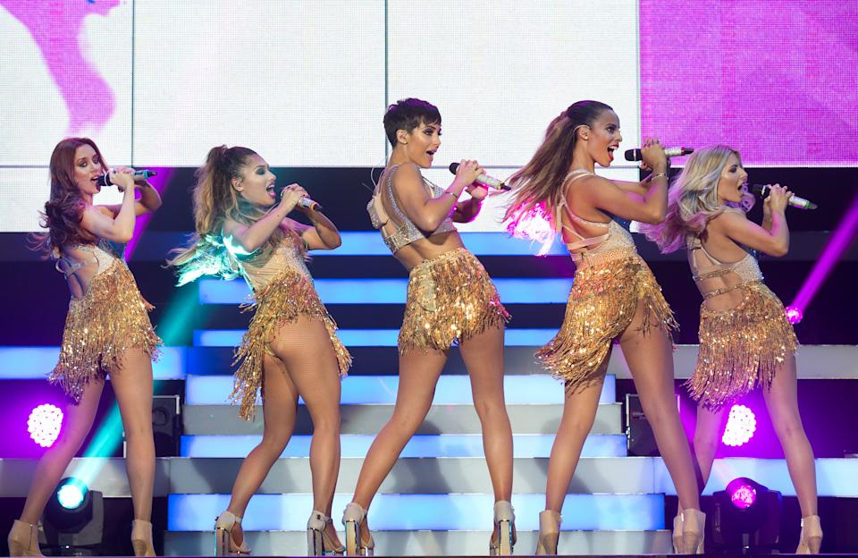 Una Foden, Vanessa White, Frankie Bridge, Rochelle Humes and Molly King of the Saturdays in at concert at Wembley Arena in London. (Photo by Zak Hussein/Corbis via Getty Images)