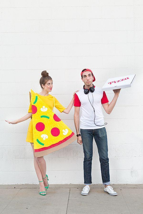 """<p>If you two are obsessed with pizza, this is the costume for you. (Wait, come to think of it, who's <em>not</em> obsessed with pizza?)</p><p><strong>Get the tutorial at <a href=""""https://studiodiy.com/2014/10/14/diy-pizza-slice-delivery-boy-couples-costume/"""" rel=""""nofollow noopener"""" target=""""_blank"""" data-ylk=""""slk:Studio DIY"""" class=""""link rapid-noclick-resp"""">Studio DIY</a>.</strong></p><p><a class=""""link rapid-noclick-resp"""" href=""""https://www.amazon.com/dp/B07S722D6D/ref=twister_B07BQNGXLN?tag=syn-yahoo-20&ascsubtag=%5Bartid%7C10050.g.4616%5Bsrc%7Cyahoo-us"""" rel=""""nofollow noopener"""" target=""""_blank"""" data-ylk=""""slk:SHOP YELLOW T-SHIRT DRESSES"""">SHOP YELLOW T-SHIRT DRESSES</a></p>"""
