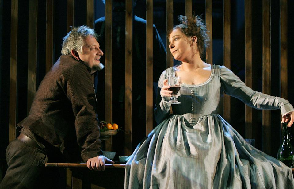 With Simon Russell Beale in 'Much Ado About Nothing' at the Olivier TheatreAlastair Muir/Shutterstock