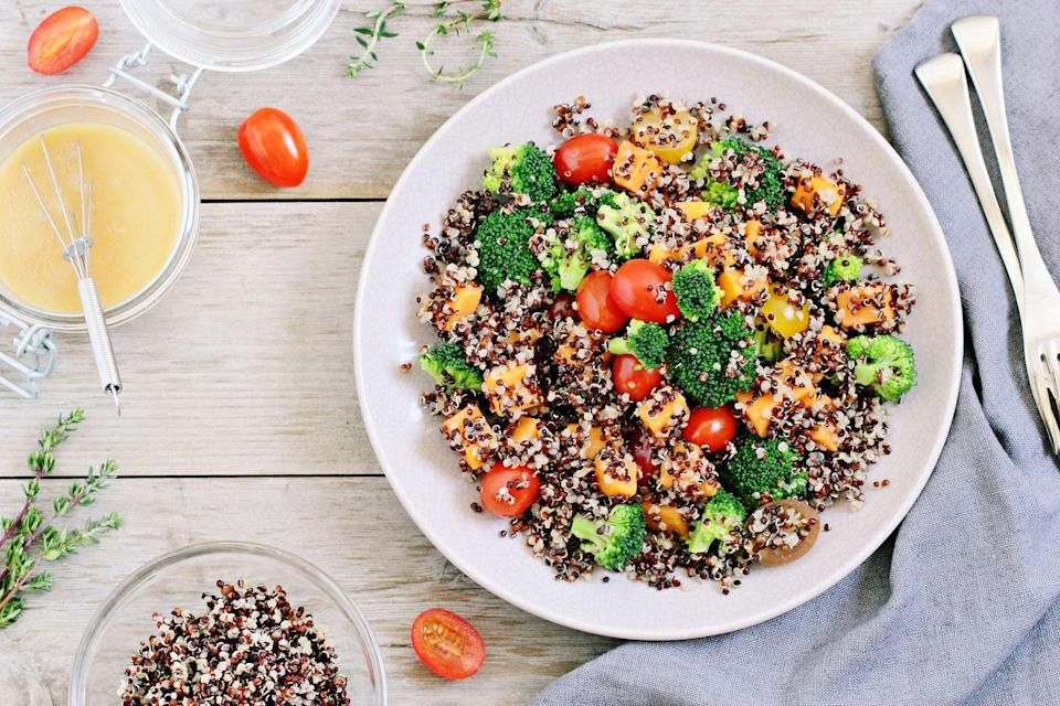 """<p>There is a reason quinoa is a supergrain: A half-cup contains almost 15 percent of the magnesium you need in a day. Plus, it's rich in plant-based protein and fiber to relieve constipation, stabilize blood sugar levels, and ward off hunger. </p><p><strong>Try it: </strong>Add quinoa to your salads, turn it into a cold """"cereal"""" for breakfast, or use it as a base for veggie burgers.</p>"""
