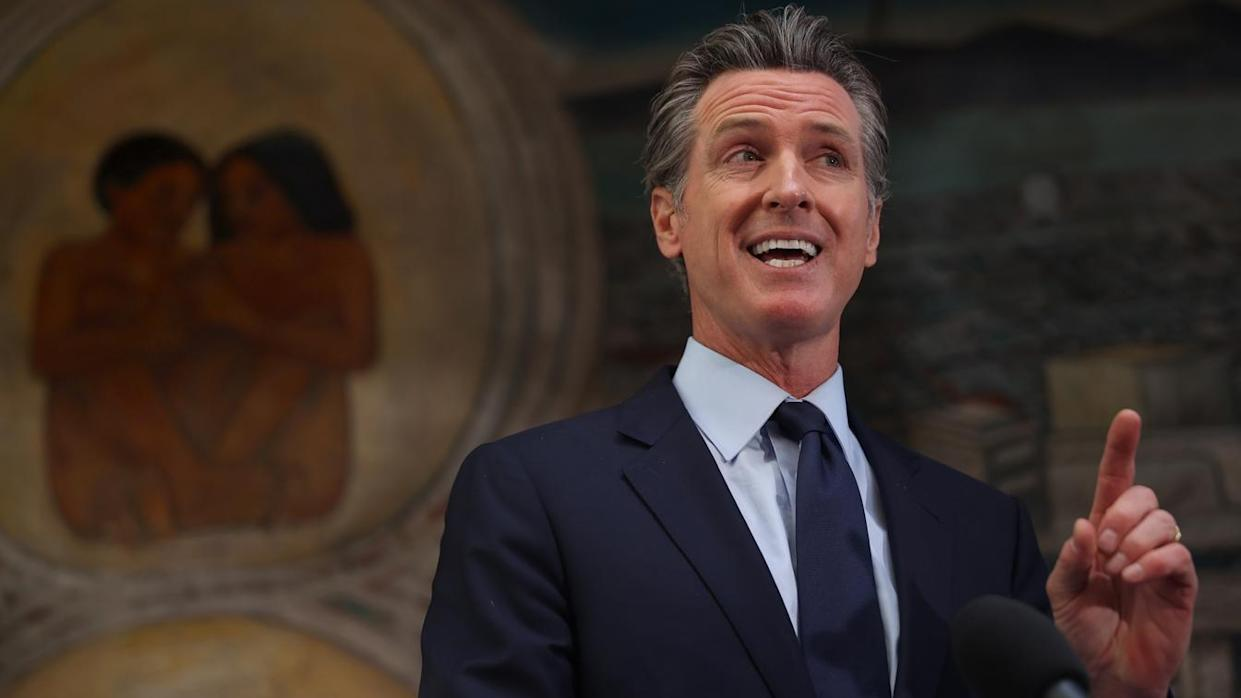 California Gov. Gavin Newsom speaks during a press conference at The Unity Council on May 10, 2021 in Oakland, California. California Gov. Gavin Newsom announced a $100 billion economic recovery package for the state that would include a new round of $600 stimulus checks for low-income residents making up to $75,000 a year. (Justin Sullivan/Getty Images)