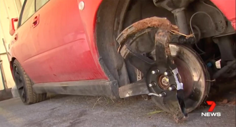 The badly damaged Subaru was dumped after the thieves crashed into a pole and fled on foot. Source: 7 News