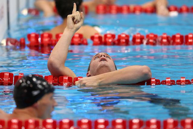 LONDON, ENGLAND - AUGUST 02: Tyler Clary of the United States celebrates after winning the gold in the Men's 200m Backstroke final on Day 6 of the London 2012 Olympic Games at the Aquatics Centre on August 2, 2012 in London, England. (Photo by Clive Rose/Getty Images)