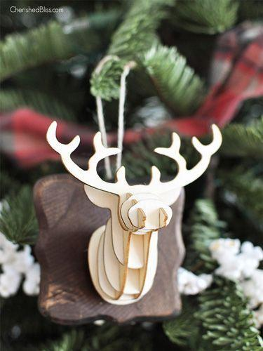 """<p>Turn a three-dimensional paper craft from <a href=""""http://www.michaels.com/"""" rel=""""nofollow noopener"""" target=""""_blank"""" data-ylk=""""slk:Michaels"""" class=""""link rapid-noclick-resp"""">Michaels</a> into a hanging ornament by mounting it to a plaque ornament, then using woodstain to finish.</p><p><strong>Get the tutorial at <a href=""""http://cherishedbliss.com/3d-deer-head-ornament/"""" rel=""""nofollow noopener"""" target=""""_blank"""" data-ylk=""""slk:Cherished Bliss"""" class=""""link rapid-noclick-resp"""">Cherished Bliss</a>.</strong></p>"""