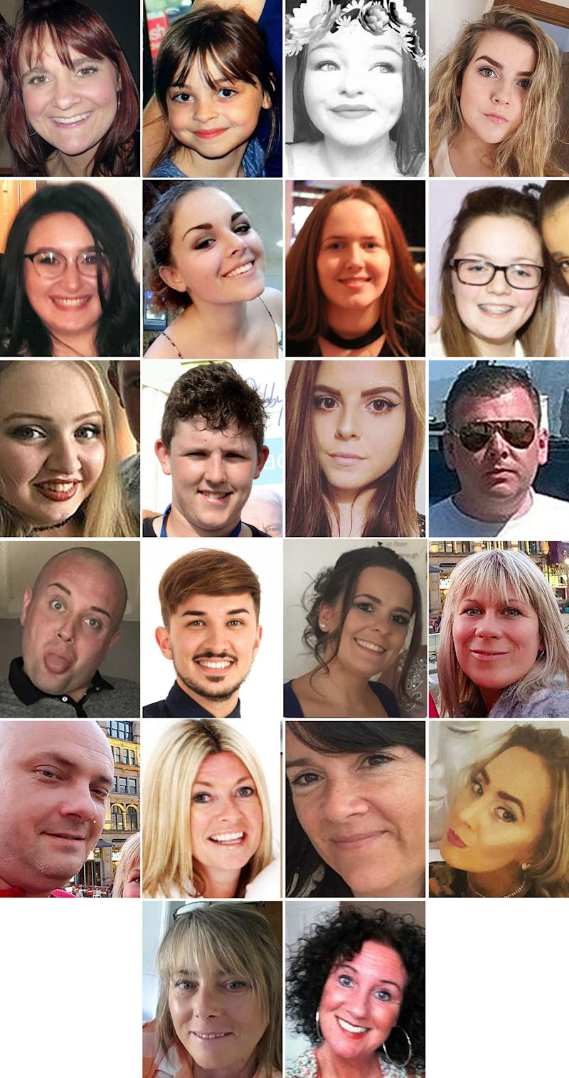 The 22 victims of the terror attack during the Ariana Grande concert at the Manchester Arena in May 2017. (top row left to right) Off-duty police officer Elaine McIver, 43, Saffie Roussos, 8, Sorrell Leczkowski, 14, Eilidh MacLeod, 14, (second row left to right) Nell Jones, 14, Olivia Campbell-Hardy, 15, Megan Hurley, 15, Georgina Callander, 18, (third row left to right), Chloe Rutherford,17, Liam Curry, 19, Courtney Boyle, 19, and Philip Tron, 32, (fourth row left to right) John Atkinson, 26, Martyn Hett, 29, Kelly Brewster, 32, Angelika Klis, 39, (fifth row left to right) Marcin Klis, 42, Michelle Kiss, 45, Alison Howe, 45, and Lisa Lees, 43 (fifth row left to right) Wendy Fawell, 50 and Jane Tweddle, 51.