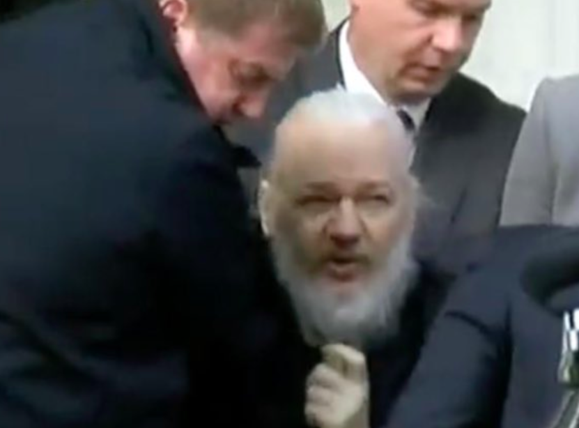 <em>WikiLeaks founder Julian Assange was hauled out of the Ecuadorian embassy and arrested this morning (Grab)</em>