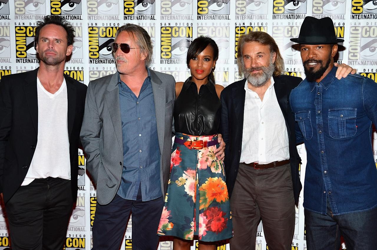 """SAN DIEGO, CA - JULY 14:  (L-R) Actors Walton Goggins, Don Johnson and Kerry Washington, Christoph Waltz and Jamie Foxx attend """"DJango Unchained"""" Press Line during Comic-Con International 2012 at Hilton San Diego Bayfront Hotel on July 14, 2012 in San Diego, California.  (Photo by Frazer Harrison/Getty Images)"""