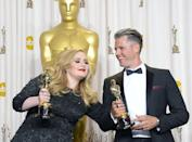 """Adele Adkins and Paul Epworth hold the Best Original Song Award for """"Skyfall"""" at the Academy Awards on February 24, 2013 in Hollywood, California. In a heavily musical show, Adele sang Oscar-winning 007 theme """"Skyfall"""" and Shirley Bassey belted out """"Goldfinger"""" to mark 50 years of Bond films, while Barbra Streisand sang """"The Way We Were,"""" her first Oscars turn for 36 years"""