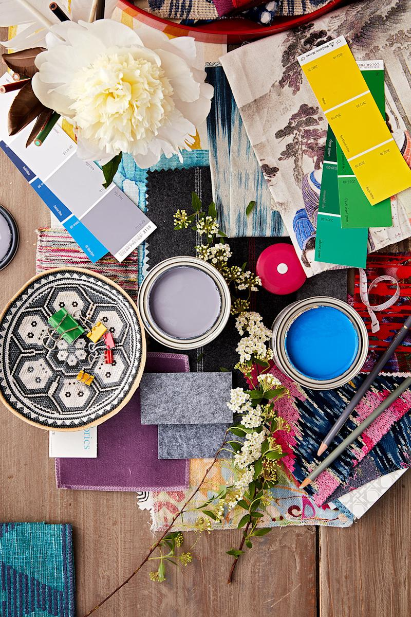 design and color mood board with textures