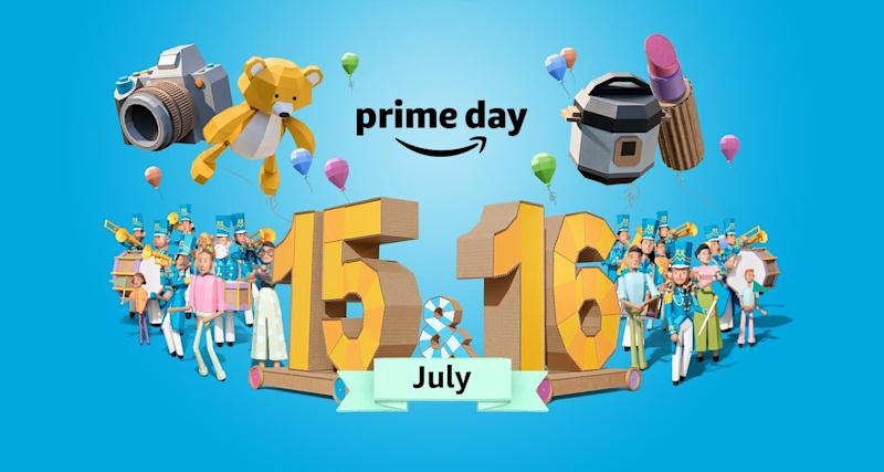 A graphic with a computer-generated band, people, and products announcing Amazon Prime Day on July 15 and 16.
