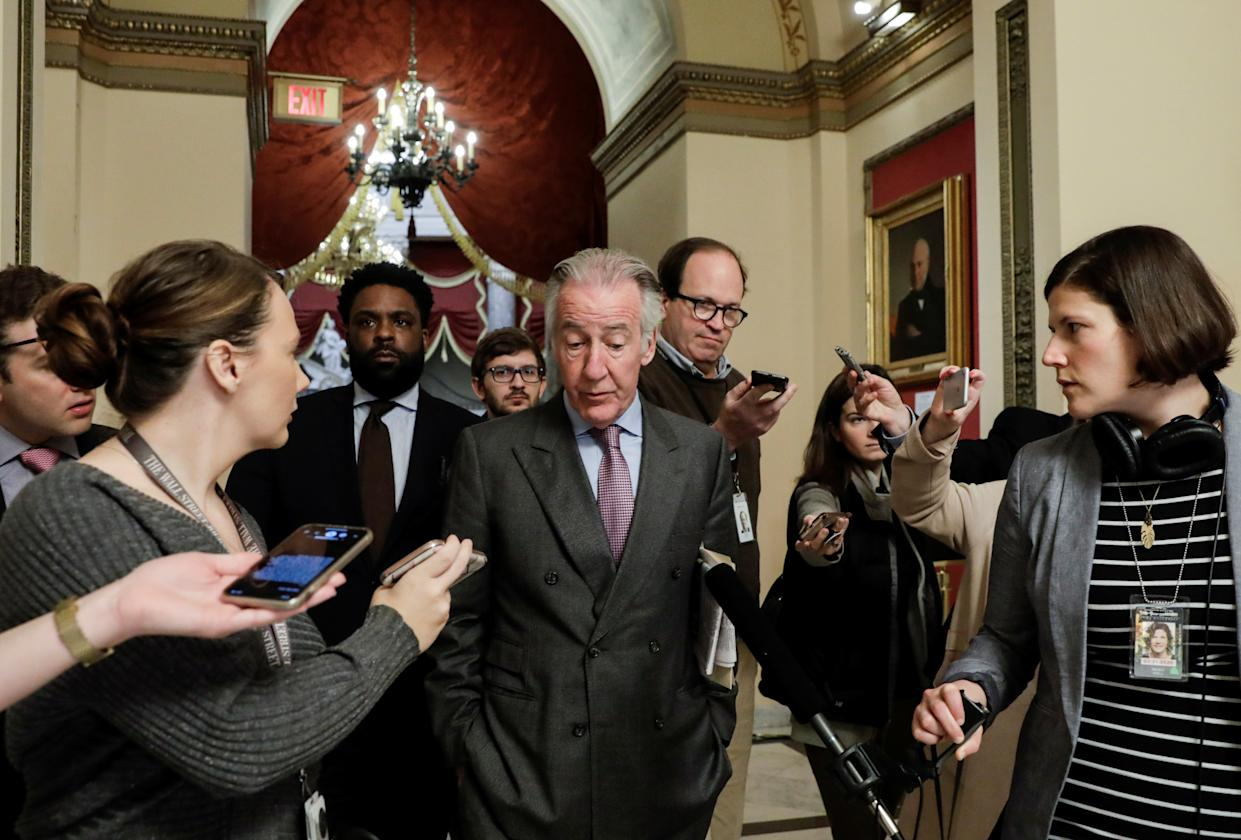 House Ways and Means Committee Chairman Rep. Richard Neal (D-MA) talks to reporters ahead of a vote in the U.S. House of Representatives on a coronavirus economic aid package on Capitol Hill in Washington, U.S., March 13, 2020. REUTERS/Yuri Gripas