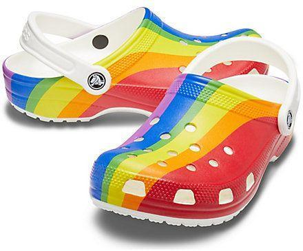 """<p><strong>Crocs</strong></p><p>crocs.com</p><p><strong>$45.00</strong></p><p><a href=""""https://go.redirectingat.com?id=74968X1596630&url=https%3A%2F%2Fwww.crocs.com%2Fp%2Fclassic-rainbow-stripe-clog%2F206360.html%3Fcgid%3Dpride-collection%26cid%3D93R%23start%3D1&sref=https%3A%2F%2Fwww.harpersbazaar.com%2Ffashion%2Ftrends%2Fg32932586%2Fpride-clothing-charity-rainbow-outfits%2F"""" rel=""""nofollow noopener"""" target=""""_blank"""" data-ylk=""""slk:Shop Now"""" class=""""link rapid-noclick-resp"""">Shop Now</a></p><p>Along with a Pride Collection and capsule line with actress Ruby Rose, the footwear label has also made a donation to GLAAD. </p>"""