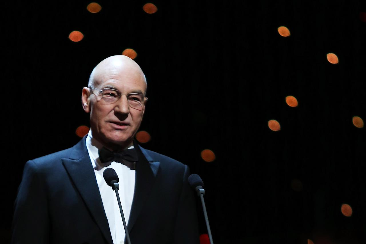 LONDON, ENGLAND - APRIL 15:  (EXCLUSIVE COVERAGE) Patrick Stewart speaks onstage at the 2012 Olivier Awards at The Royal Opera House on April 15, 2012 in London, England.  (Photo by Tim Whitby/Getty Images)
