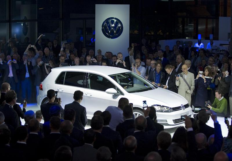 The new Volkswagen Golf 7 is presented during the launching of the model in Berlin, Tuesday, Sept. 4, 2012 (AP Photo/dapd, Steffi Loos)