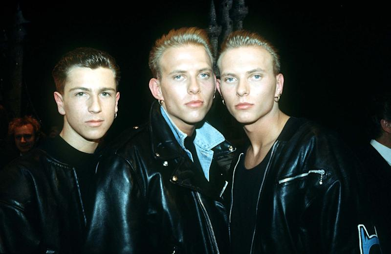 "A Library photo Craig Logan and twins Matt (Centre) and Luke Goss of the Boy band ""Bros"" in London. (Photo by PA Images via Getty Images)"
