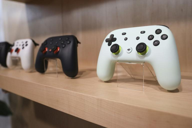 The new Google Stadia gaming system controller is displayed during a launch event for the gaming service set to debut November 19 (AFP Photo/Drew Angerer)