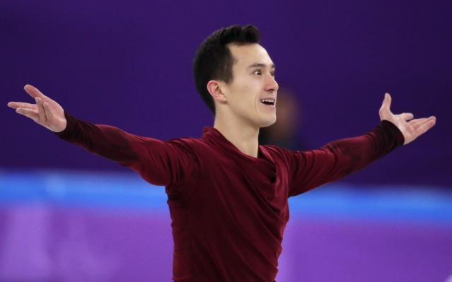 Patrick Chan of Canada reacts after his performance in the men's single skating free skating in the Gangneung Ice Arena at the 2018 Winter Olympics in Gangneung, South Korea, Monday, Feb. 12, 2018. (AP Photo/Julie Jacobson)