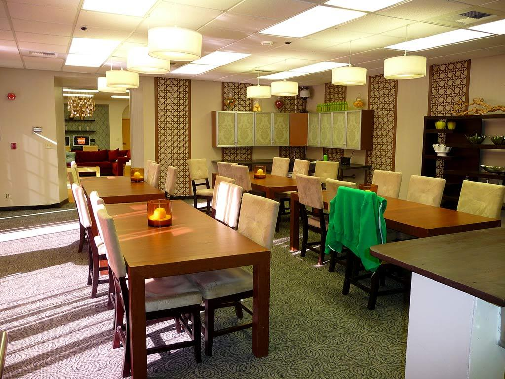 """Notice the """"family style"""" dining room... it must feel like sleep-away camp. I am sure many of the contestants have fallen asleep at dinner because they are so tired."""