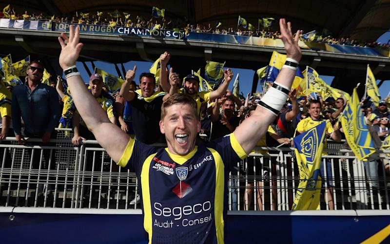 David Strettle celebrates after helping Clermont to the Champions Cup final where he will play against his former club in the showpiece final of European club rugby - Getty Images Europe