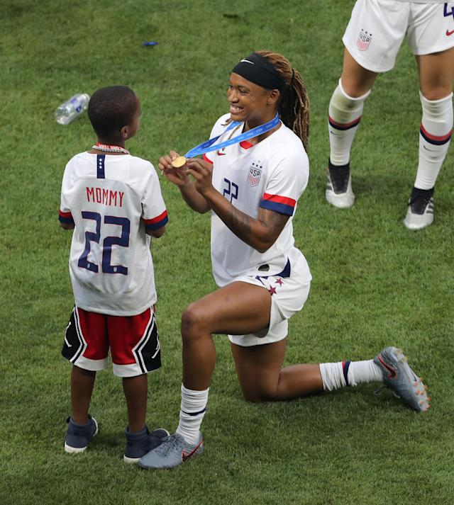 USA's Jessica McDonald with son Jeremiah after winning the FIFA Women's World Cup 2019 USA v Netherlands - FIFA Women's World Cup 2019 - Final - Stade de Lyon 07-07-2019 . (Photo by Richard Sellers/EMPICS/PA Images via Getty Images)